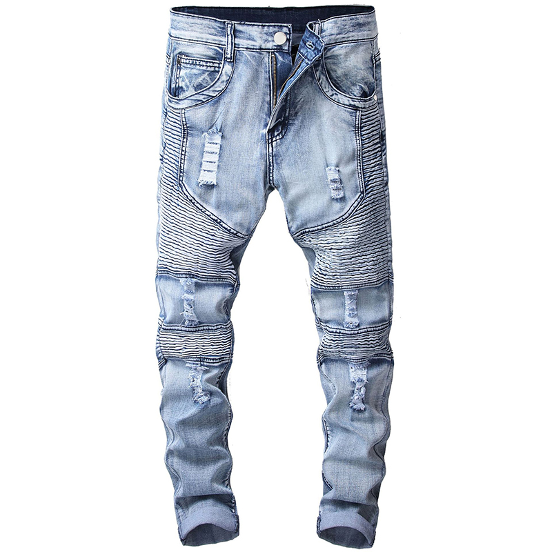 Sokotoo Men's Vintage Light Blue Holes Ripped Biker Jeans For Motorcycle Slim Fit Stretch Denim Pants