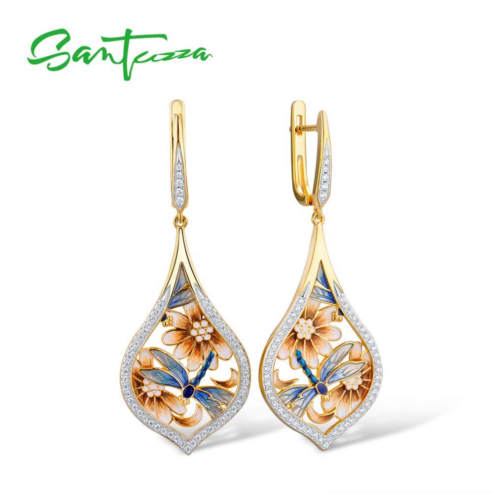 SANTUZZA Silver Earrings For Women Pure 925 Sterling Silver Flower Blue Dragonfly Trendy Gift Party Fine Jewelry Handmade Enamel