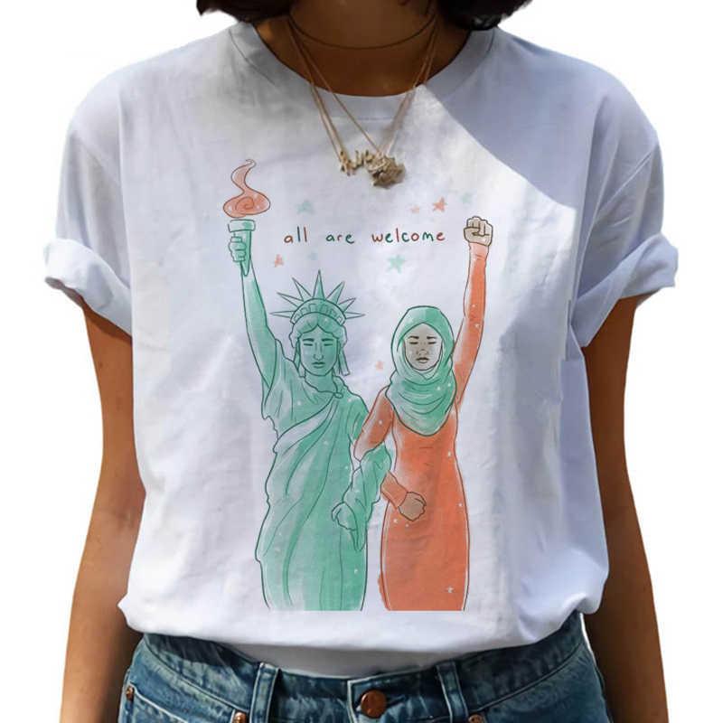 Harajuku النسوية 90s الرسم تي شيرت المرأة التي شيرت النسوية محاربة مثل فتاة الكرتون تي شيرت فتاة السلطة التي شيرت Ullzang تي شيرت
