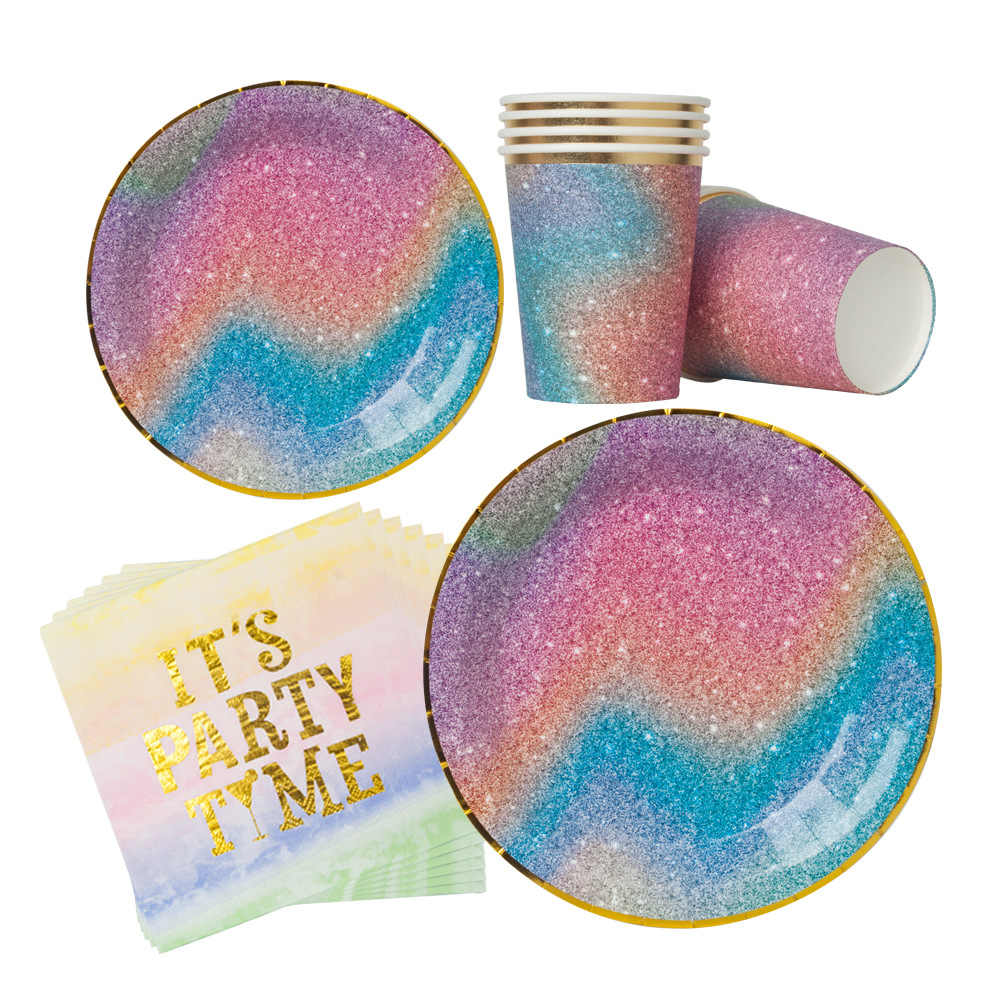 Starry Sky Gilding Disposable Tableware Set Birthday Party Wedding Decor Hot Stamping Colorful Napkin Palte Cup Party Supplies