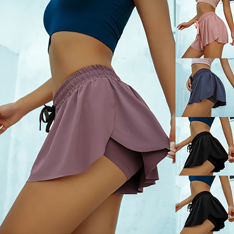 Casual Sports Shorts Women Fake Two Piece Slim Gym Shorts Summer High Waist Lace Up Ruffles Shorts Plus Size Ladies Short Pants