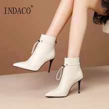 Winter Boots Women Leather Off White Black High Heel Shoes 8.5cm