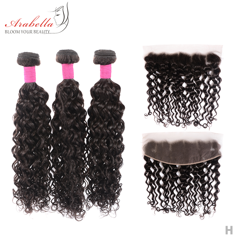 Water Wave Hair Bundles With Lace Frontal Pre Plucked Bleached Knots Arabella Natural  Hair Frontal With Bundles 1
