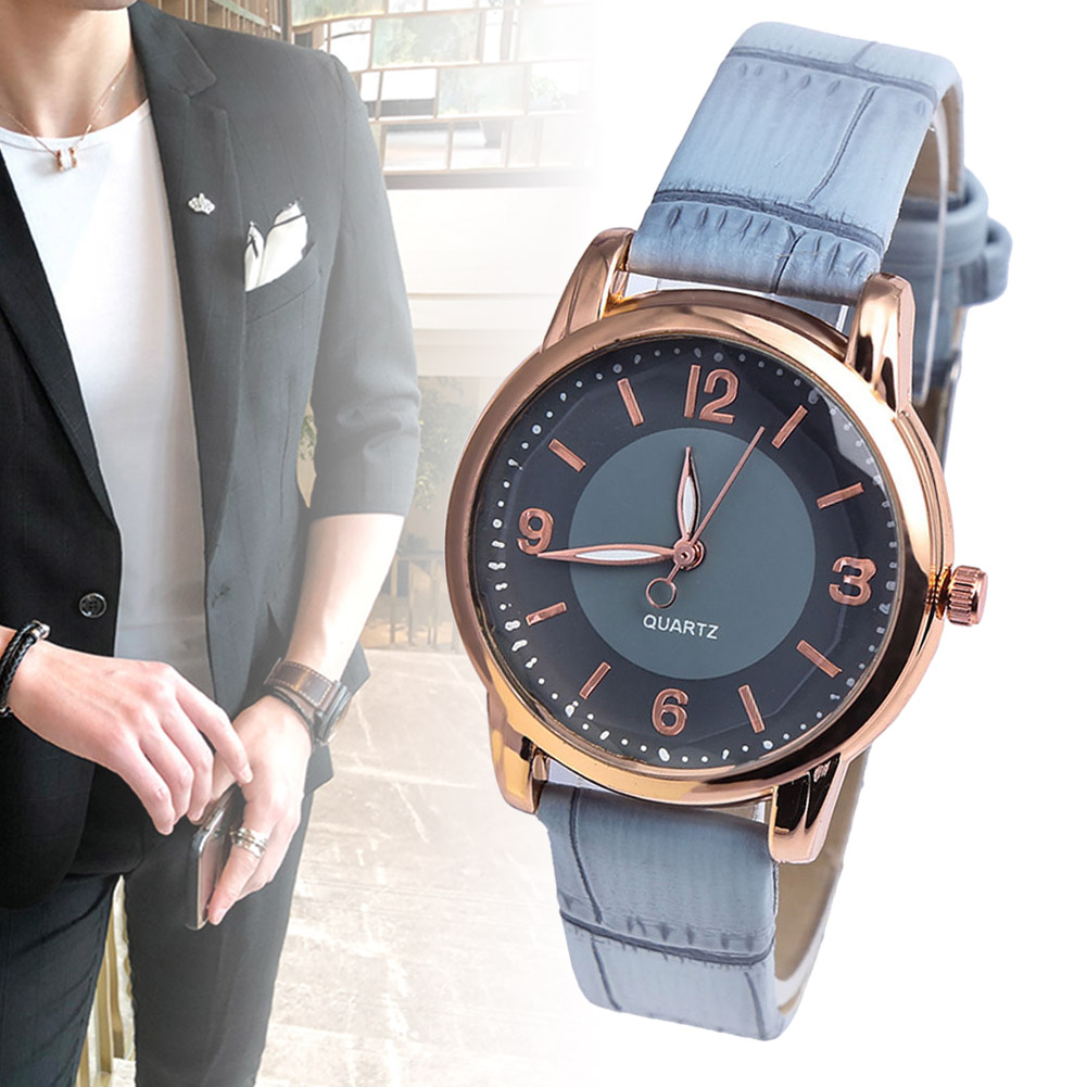 Comfortable Couple Watches Ladies Men Casual Quartz Watches Simple Fashion Round Dial Durable Leather Strap TT@88