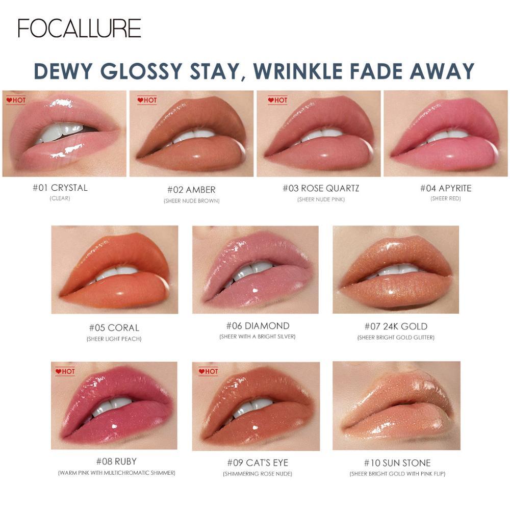 FOCALLURE PLUMPMAX Nourise Lip Glow High Shine&Shimmer Glossy Lips Makeup Non Sticky Plumping Lip Gloss 4