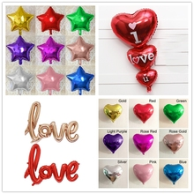 18inch Foil Balloon Heart Star Shaped Metallic Birthday Wedding Party Christmas Decoration Balloons Valentine Party Supplies
