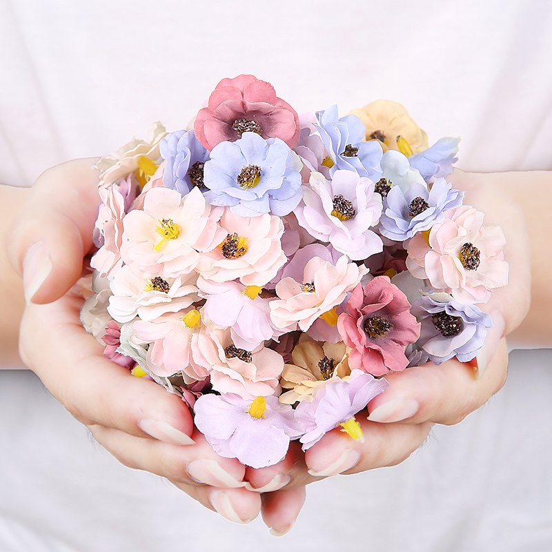 30 шт. 3 см многоцветные цветки маргаритки, маленькие шелковые искусственные цветы для свадьбы, украшения дома, Рождественский венок, скрапбу...