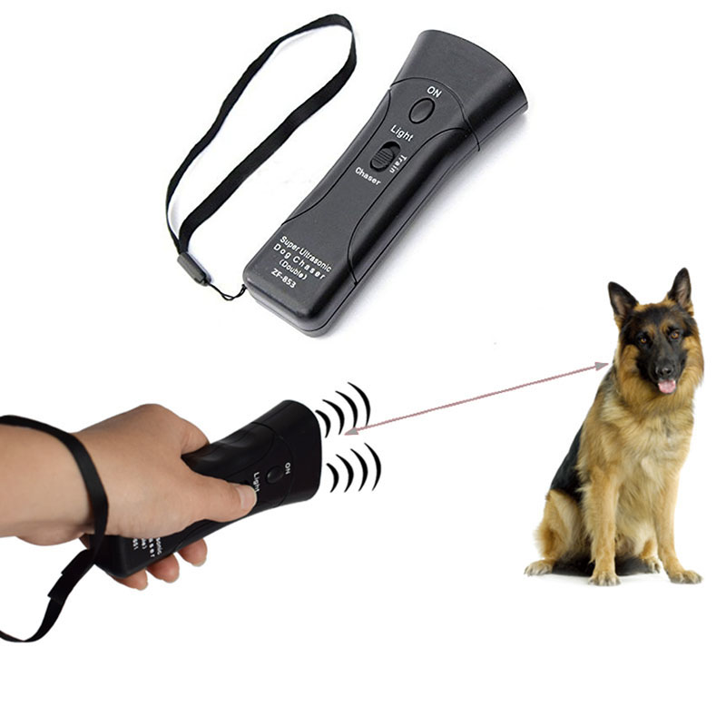 Self Defense Supplies Portable Double Super Ultrasonic Dog Chaser Stops Animal <font><b>Attacks</b></font> Personal Defense Infrared Dog Drive Train image