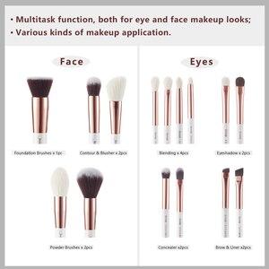 Image 5 - Jessup brushes Pearl White / Rose Gold Professional Makeup Brushes Set Make up Brush Tool Foundation Powder Definer Shader Liner