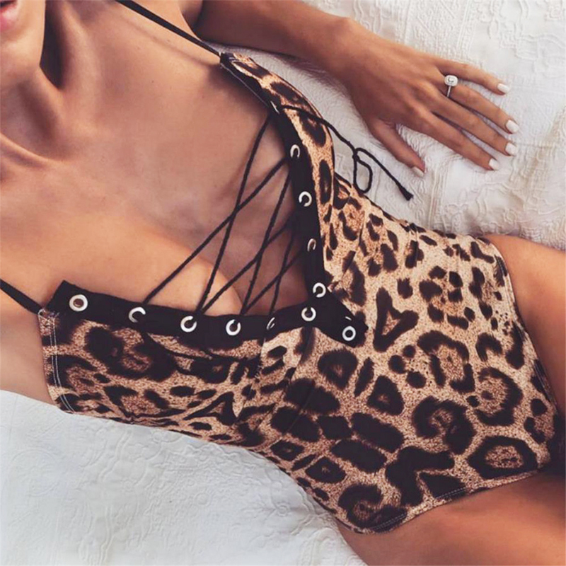 2019 Summer Women Bodysuit Leopard Print <font><b>Bandage</b></font> Bodycon <font><b>Sexy</b></font> Streetwear Rompers <font><b>Festival</b></font> Party Clothes Sleeveless <font><b>Tops</b></font> image