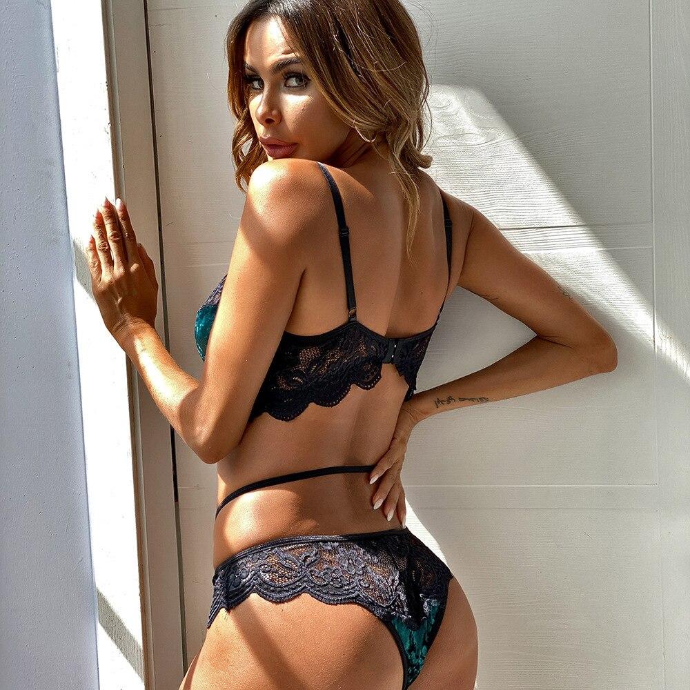 2 pièces femmes Sexy sous-vêtements Lingerie dentelle