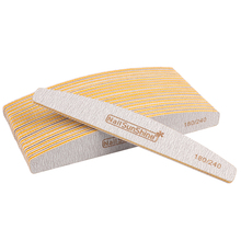 Профессиональная пилка для ногтей 50 шт./лот, 180/240 прочная наждачная бумага для ногтей, шлифовальный блок, половинная луна, моющийся полировщик, инструмент для маникюра и ухода