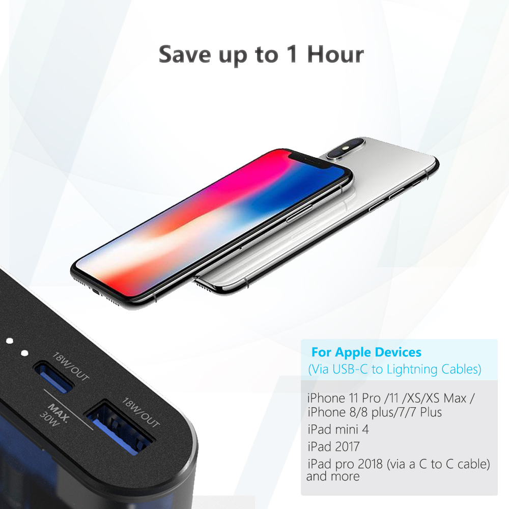 90 Вт двойной USB-C портативное зарядное устройство для нового MacBook Pro DELL XPS iPhone Xiao Mi Pro HP iPhone Type-C ноутбуки телефон QC PD
