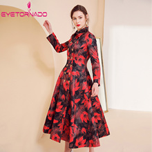 Women Trench Coat Plus Size Floral Print Dobby Long