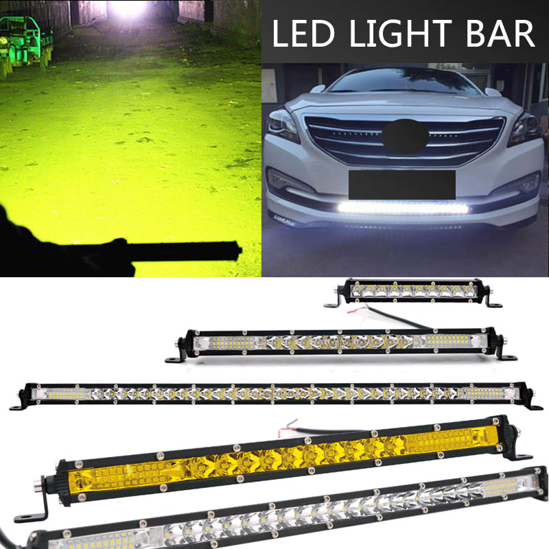 Super Slim 10D 30W 120W 13 20inch Yellow LED Work Light Bar Spot Combo 4x4 Offroad LED Light Bar For Tractor Boat 4WD Trucks ATV