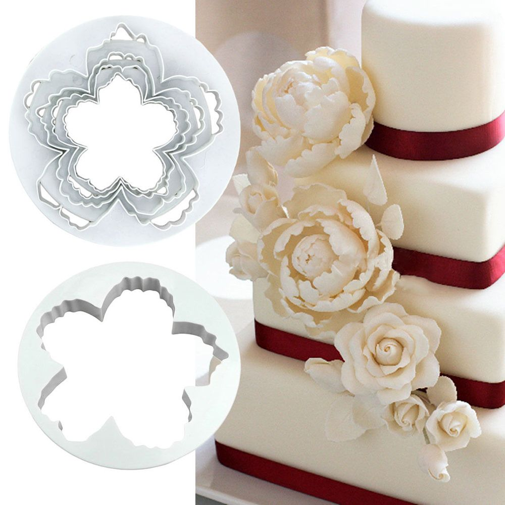 Hot New 4pcs/set Peony Petals Pattern <font><b>Flower</b></font> Plastic Paste <font><b>Cake</b></font> Press Mold Set Cookie Sugar Fondant <font><b>Cutter</b></font> <font><b>Cakes</b></font> <font><b>Decoration</b></font> image
