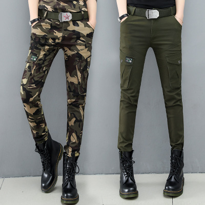 2019 Fashion New Women's Fitness And Leisure Army Fan Color Goods Jeans Pants Denim Overalls Ladies Straight Multi-pocket Trouse