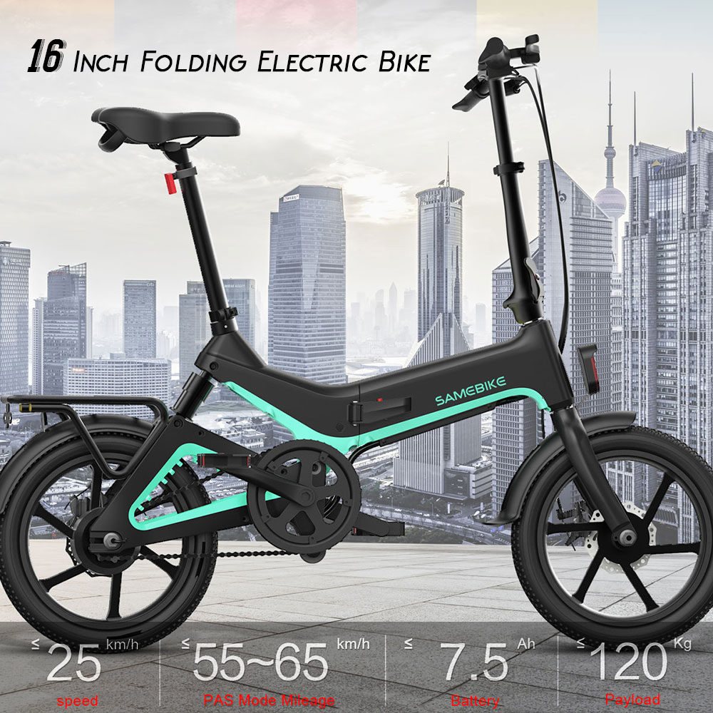 16 Inch Folding Electric Bicycle Power Assist Moped Bike E bike 250W Motor Brakes Bicycle Foldable Foot Pedal  Outdoor Cycling|Electric Bicycle| |  - title=