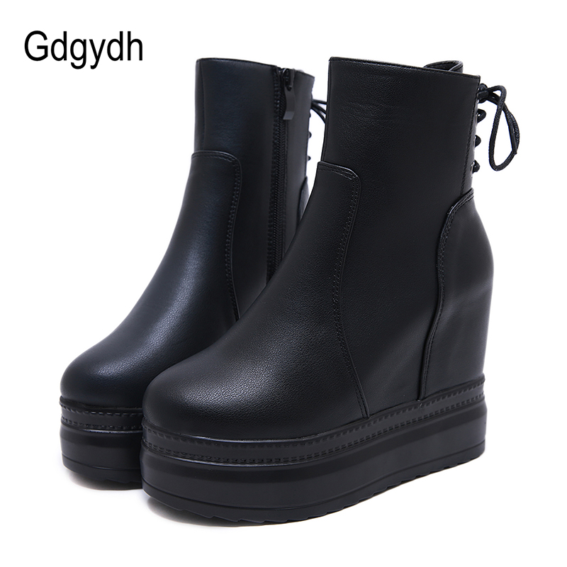 Gdgydh Drop Ship Lace Up Leather Ankle Boots Heels Boots Female With Zipper Platform Wedges Shoes Round Toe Promotion Discount