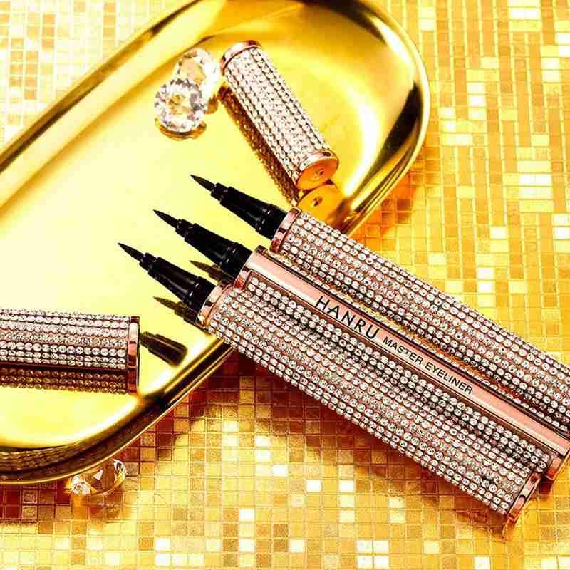 Quick-dry Starry Crystal Shinny Eyeliner Pen Waterproof Not Blooming Liquid Eyeliner Lasting Smooth Black Eyeliner Pencil
