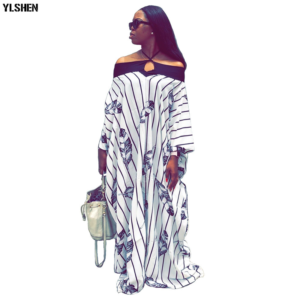 Long African Dresses For Women Dashiki Stripe African Clothes Basin Riche Sexy Off Shoulder Boubou Robe Africaine Evening Dress
