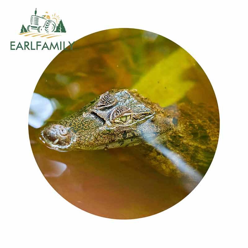 EARLFAMILY 13cm X 13cm For Caiman Alligator Crocodile Funny Car Stickers Personality Scratch-Proof Waterproof Vinyl Car Wrap