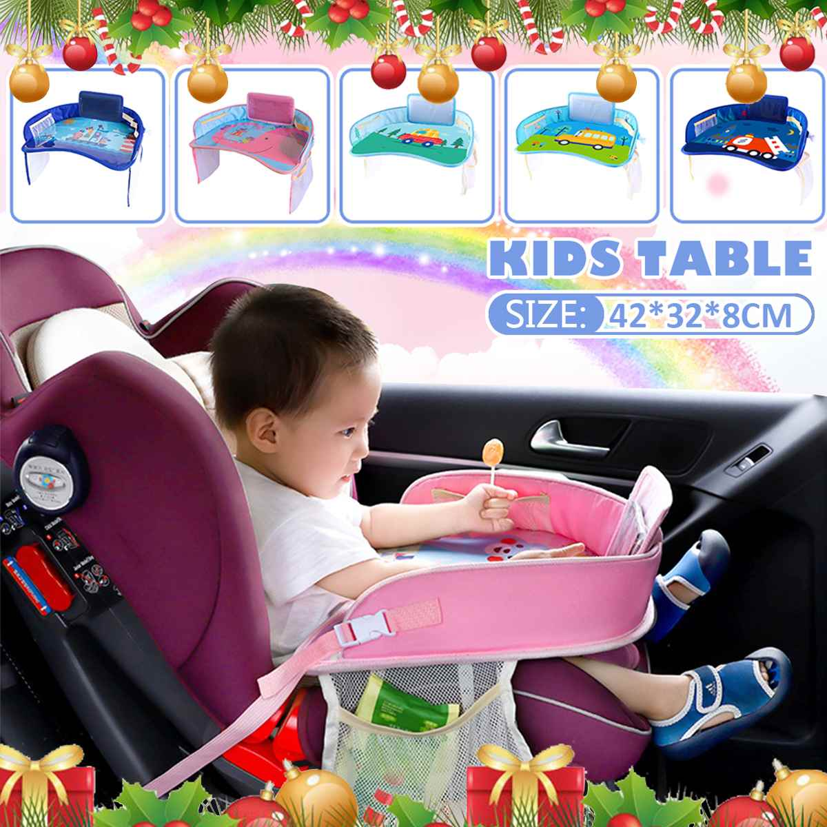 Baby Car Tray Plates Portable Waterproof Dining Drink Table for Kids Car Seat Child Cartoon Toy Holder Storage Baby Fence Desk
