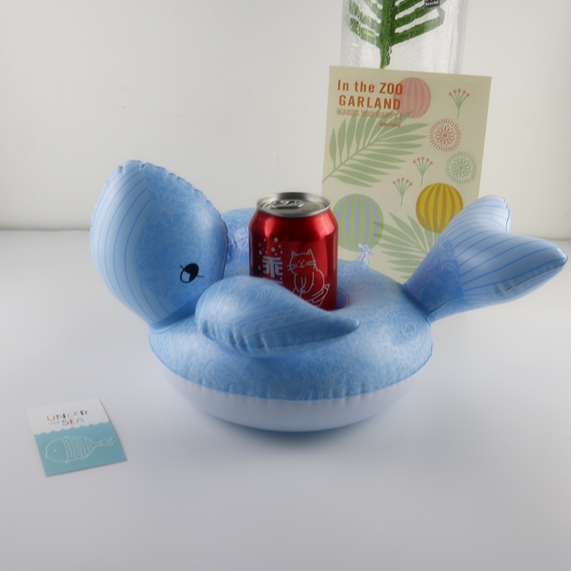 INS Hot Selling Whale Cup Holder Inflatable Water Coasters Floating Beverage Cup Saucer