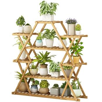 Balcony Flower Rack Shelf Household Flowerpot Frame Solid Wood Decorate Indoor Multi-storey