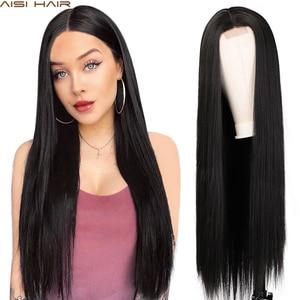 Image 1 - AISI שיער ארוך ישר שחור פאה סינטטי פאות עבור נשים טבעי התיכון חלק תחרת פאה עמיד בחום סיבי למראה טבעי פאה
