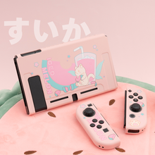 Geekshare-funda blanda de dibujos animados para Nintendo Switch, Gato sandía, niña rosa, Liga de hadas de verano, TPU, carcasa trasera para Nintendo Switch