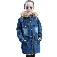 سترة للفتيات الدنيم سترة فتاة كامل طول معطف الأطفال مع الفراء هوديس الخريف في سن المراهقة الأطفال ازياء للفتيات