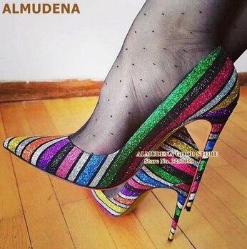 Туфли лодочки ALMUDENA на высоком каблуке, разноцветные блестящие туфли лодочки с разноцветными радужными полосками, украшенные блестками, на
