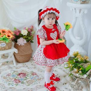 2 предмета, летнее винтажное бальное платье принцессы в стиле Лолиты с короткими рукавами и принтом для маленьких девочек, платье для дня ро...