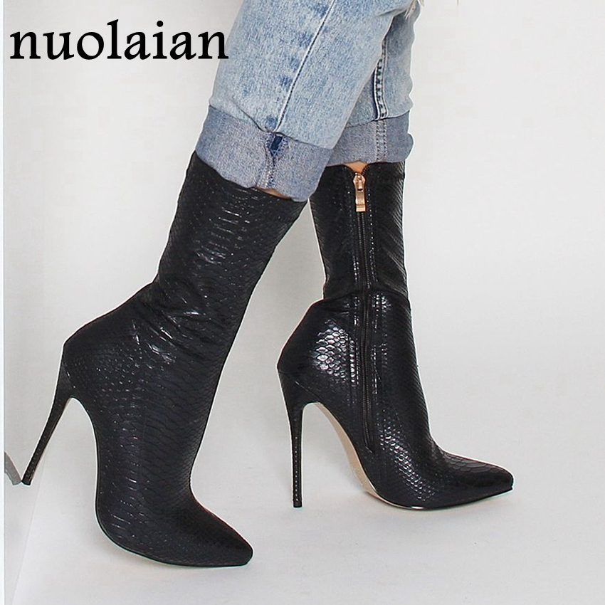 new products clearance prices cost charm 2019 Winter Ankle Boots Woman Black Leather Platform Boots Womens ...