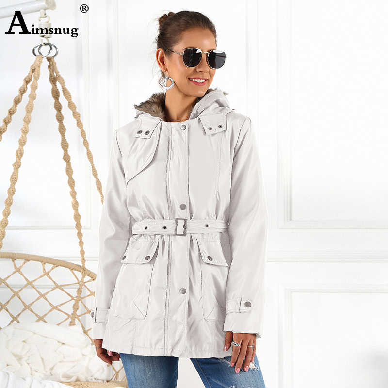 2019 Winter Single-breasted Zipper Hooded Coat Women Drawstring Slim Female Solid Long Jacket with Removable Faux Fur Liner Warm