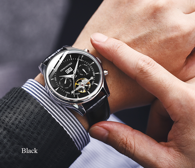 Hd497acffbe214e6b8616fd19f121b20fW Skeleton Tourbillon Mechanical Watch Men Automatic Classic Rose Gold Leather Mechanical Wrist Watches Reloj Hombre 2018 Luxury