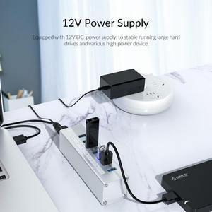 Image 5 - ORICO USB HUB obsługuje BC1.2 ładowania aluminium 4 Port USB3.0 Splitter z 12V2A zasilacz do laptopa MacBook PC akcesoria