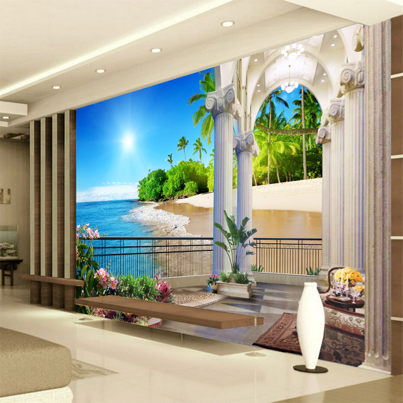 3D Seamless Wallpaper Living Room Sofa TV Backdrop Video Wall Large Mural Window Beach Sea View
