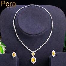Ensemble collier et boucles d'oreilles en cristal CZ pour demoiselles d'honneur, carré jaune Brillant, bijoux de mariée, cadeau de fête, J364