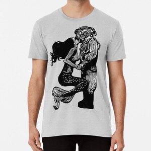 My Underwater Love T shirt linocut mermaid diver kiss linoprint linogravure love valentines beach(China)
