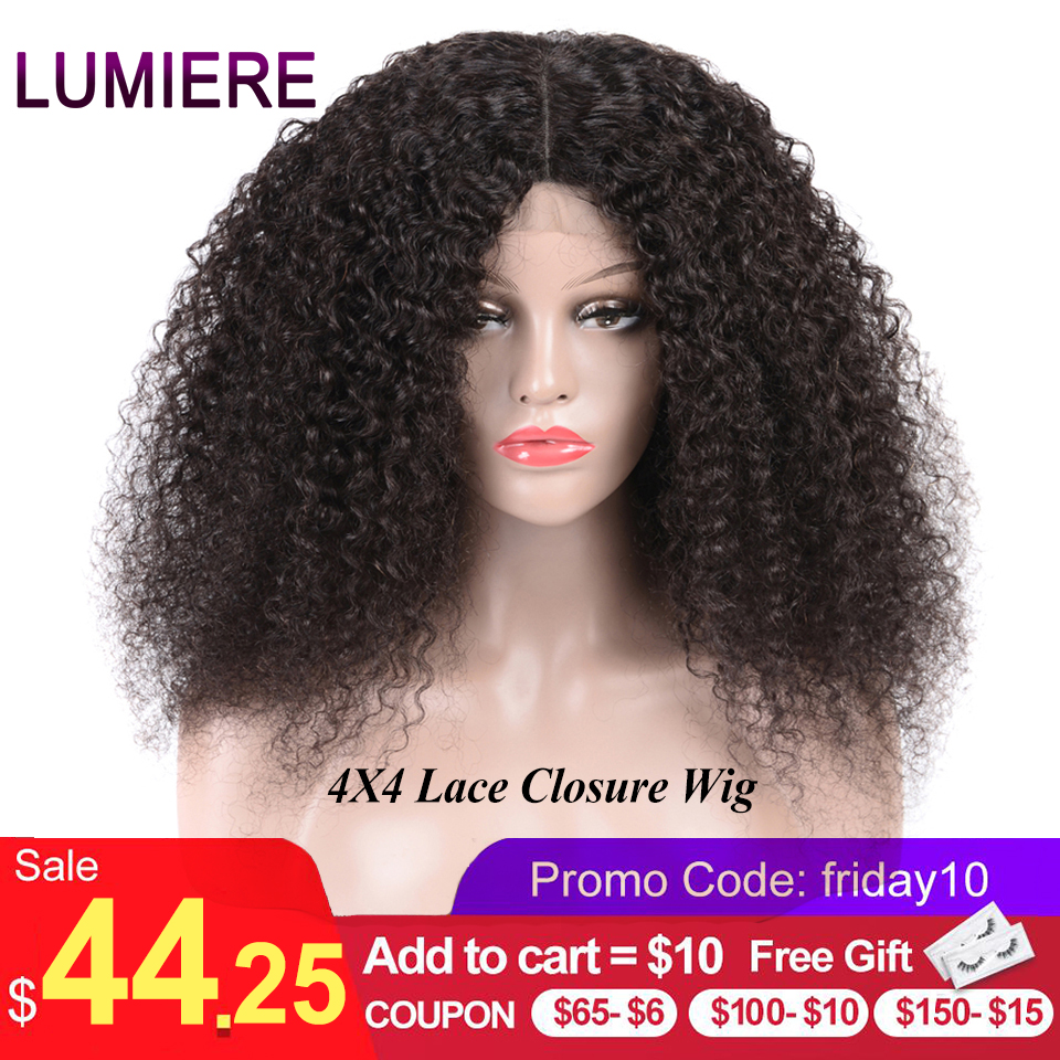 Lumiere Hair 4X4 Lace Closure Wig Brazilian Kinky Curly Lace Closure Human Hair Wigs Pre Plucked With Baby Hair Remy Color 1B