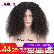 Lumiere Hair 4X4 Lace Closure Wig Brazilian Kinky Curly Lace Closure Human Hair Wigs Pre Plucked With Baby Hair Remy Color 1B ross pretty remy hair kim k closure 2 6 brazilian straight hair lace closure human hair pre plucked with baby hair