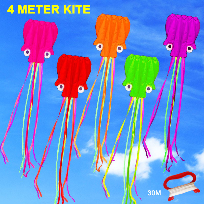 Hot Sale 4M Large Kite Easy Fly Stunt Foldable Big Octopus Kite With 30m Flying String