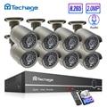Techage H.265 8CH 1080P HDMI POE NVR Kit de sistema de seguridad CCTV 2.0MP IR al aire libre registro de Audio cámara IP P2P Video Vigilancia Conjunto