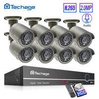 Techage h.265 8ch 1080 p hdmi poe nvr kit cctv sistema de segurança 2.0mp ir ao ar livre gravação áudio câmera ip p2p vídeo vigilância conjunto