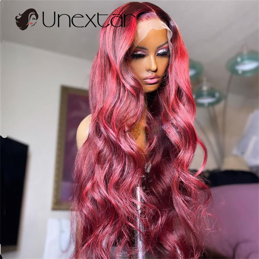 colorido peruca borgonha 180% perucas brasileiras do