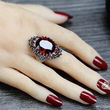 Vintage Red Rhinestone Engagement Ring Women Crystal Ring Silver plated Luxury finger Jewelry female wedding adjustable ring rhinestone vintage flower ring