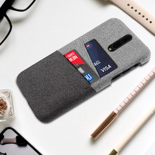 For OnePlus 7T Pro Case Luxury Slim Back Hard PC Matte Fabric Shockproof Cloth Cover One Plus Card Slot