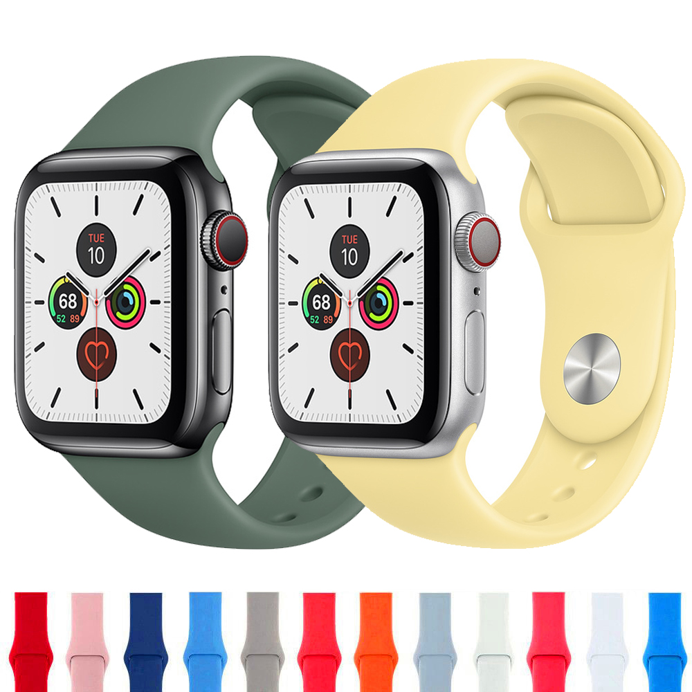 Sport Band For Apple Watch Strap Apple Watch 4 5 Band 44mm 40mm Iwatch Band 42mm 38mm Silicone Bracelet Watchband Accessories